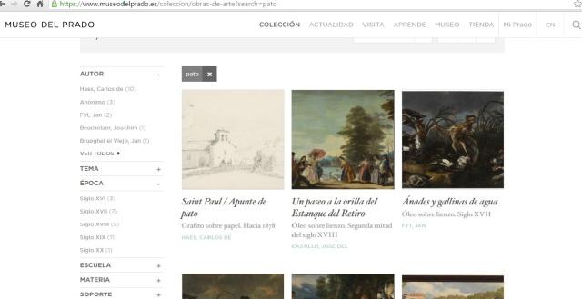 Captura de pantalla de la Web del Museo del Prado. Búsquedas.