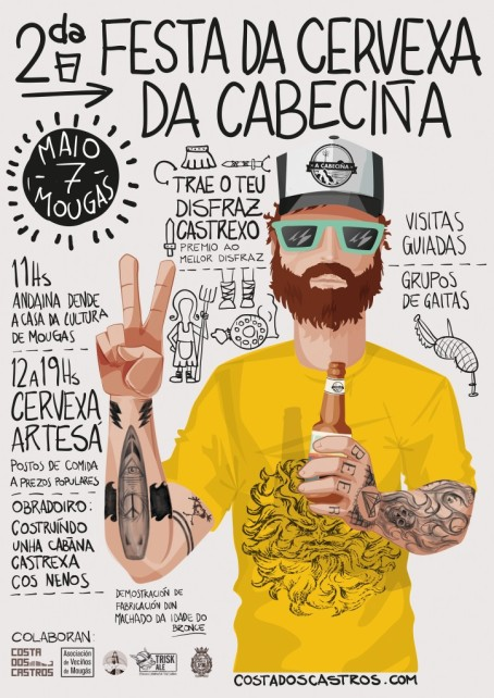 Cartel de la Festa da Cervexa da Cabeciña en Oia (Pontevedra. Rías Baixas)