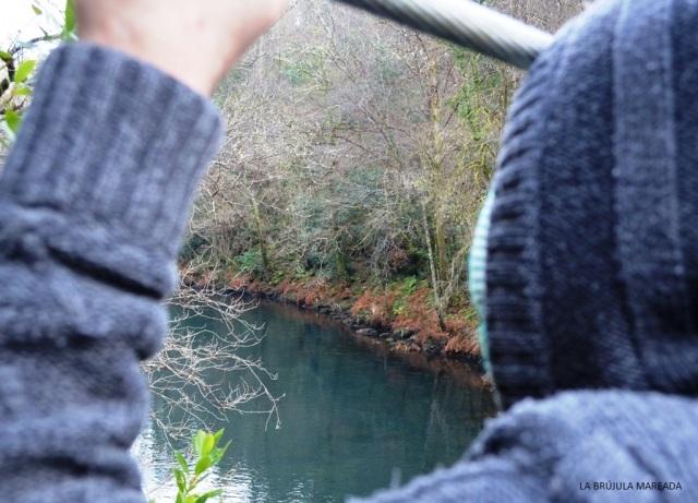 Mirando hacia el río Eume en uno de los puentes colgantes de la ruta hacia Caaveiro.